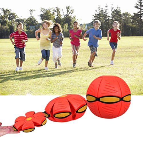 Tearoke Children Kids UFO Deformation Throw and Become Ball Soccer Magic Flying Football Flat Ball Toy (Red)