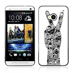 Designer Depo Hard Protection Case for HTC One M7 / Cool Peace Hand Tattoo Art