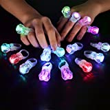 MIDAFON 60 Pack LED Glow Rings Light up Flashing Rings Plastic Diamond Kids Play Rings Glow in The Dark Toys Bachelorette Birthday Themed Football Party Favors