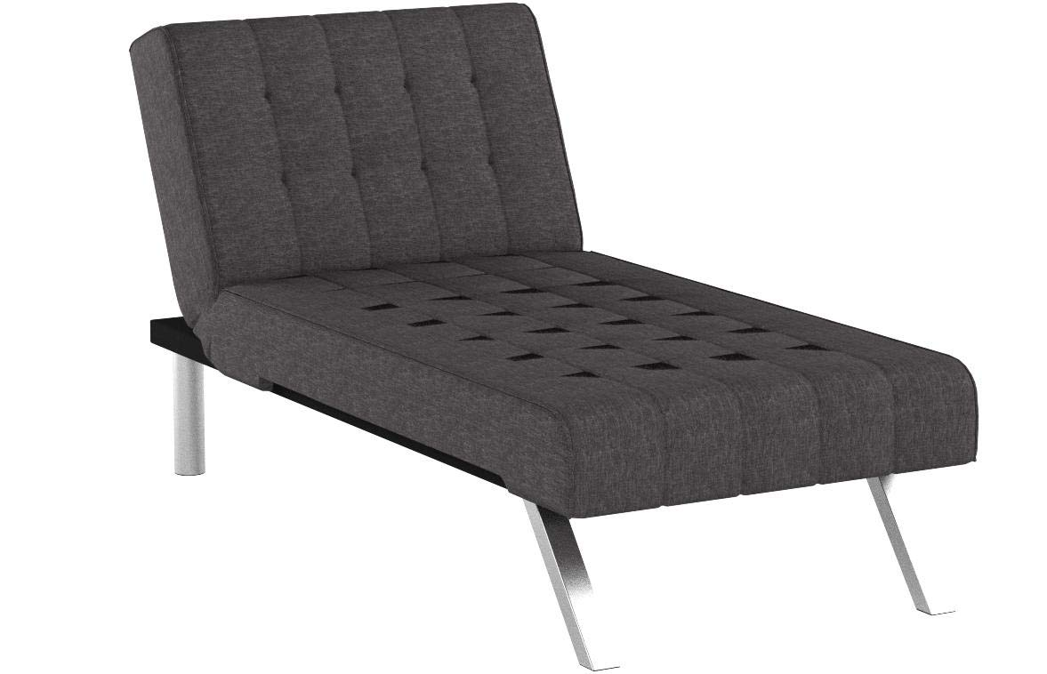 DHP Emily Linen Chaise Lounger, Stylish Design with Chrome Legs, Grey by DHP (Image #13)