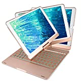 Smart Case for iPad Pro 10.5 inch with Keyboard,7 Colors Side Breathing LED + Backlits All around 360 Rotation Anti-scratch/Slip Ultra-slim Keyboard Case for Apple iPad pro 10.5(Rose Gold)