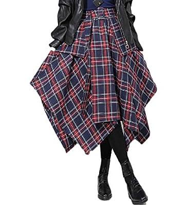 RDHOPE-Women Vintage Plaid Swing British Style Classics Long Skirt