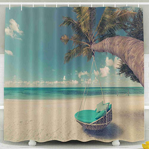 Capsceoll Fabric Shower Curtain, Décor Bathroom Curtain Tropical Beach Background As Summer Landscape Swing Hammock Over White Sand Calm Sea 72x72 inches with Free Hooks Fabric Bath Shower Curtain