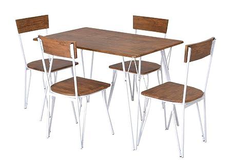 Enrico Coveri Contemporary Set Tavolo con 4 Sedie in Legno e Metallo,  Moderno ed Elegante, Ideale per Cucina, Salone e Sala da Pranzo (Noce)