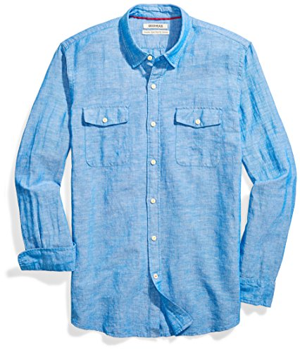 andard-Fit Long-Sleeve Linen and Cotton Blend Shirt, Bright Blue, X-Large ()