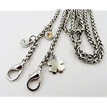 Metal Clover and 2 Artificial diamond Pendant shape Chain 47 inch Long silvery Tone Mini Purse/Shoulder/Cross Body Bag Replacement Metal Strap