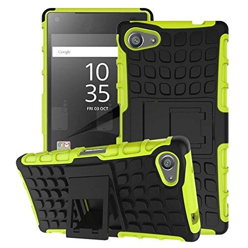 FALIANG Sony Xperia M5 Funda, 2in1 Armadura Combinación Neumáticos Patrón A Prueba de Choques Heavy Duty Escudo Cáscara Dura para Sony Xperia M5 (Púrpura) Verde