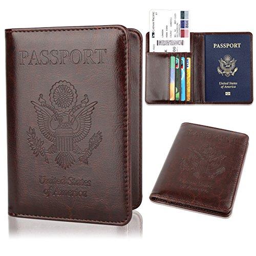 GDTK Leather Passport Holder Cover RFID Blocking Travel Wallet (Coffee)