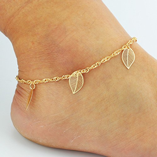 Jovono Women's Gold Anklet Bracelet Beach Foot Leaf Jewelry Bells Anklet for Women and - Bell Tower At Shops