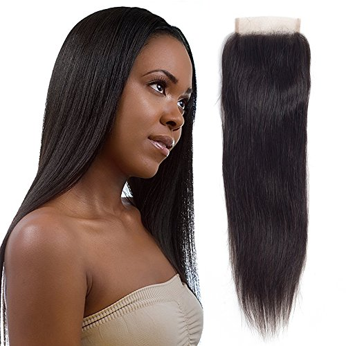 Price comparison product image BeliHair Straight Human hair Lace Closure 18 inch Unprocessed Soft Brazilian Real Hair Weave for Women, Natural Black Color