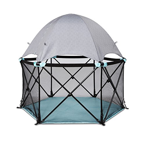 Summer Infant Pop 'N Play Deluxe Ultimate Playard, Aqua Splash/Textured Gray