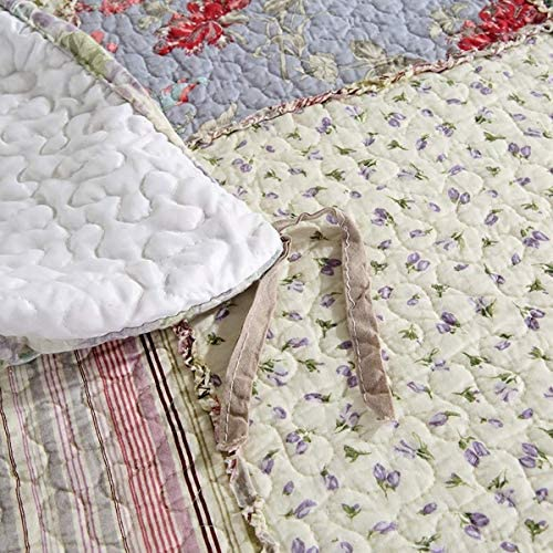 WYYAF Couvre-lit Patchwork Broderie Couvre-lit 3 pièces en Coton Souple Ensemble Douillette Inclure 2 Pillow Shams Taille Double, 230 × 250 cm