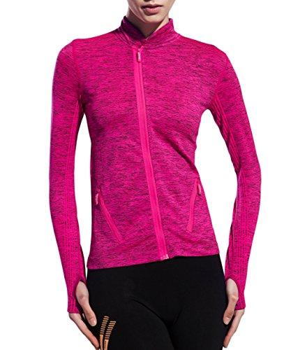 UDIY Women Running Sweatshirts- Slim Full-Zip Gym Jacket Coat with Two Size Pockets,Rose