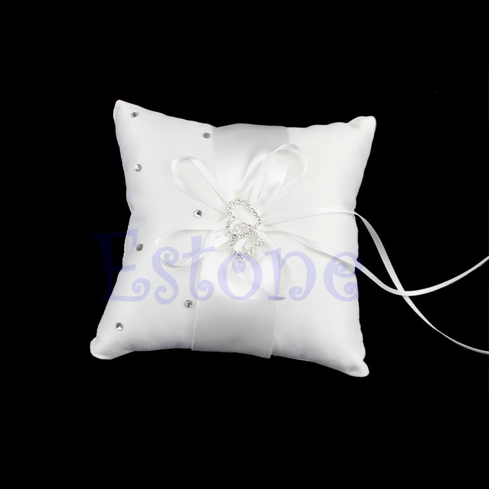 10cmx10cm Double Heart Beauty Ring Bearer Pillow Cushions Wedding Party Crystal Rhinestone by princessdress08
