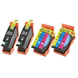4-Pack Compatible Dell Series 21 Y498D (GRMC3) Black and Y499D (XG8R3) Color Printer Ink Cartridge SET for Dell All-In-One Printers P513w P713w V313 V313w V515w V715w (2 Black and 2 Tri-Color)