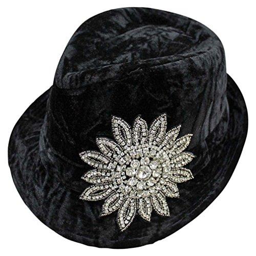Luxury Divas Black Velvet Rhinestone Jeweled Flower Fedora Hat (Fedora Velvet Black Hat)