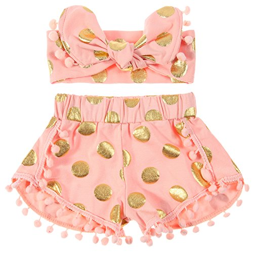 ef5107a29 Cilucu Baby Girls Shorts Toddlers Gold Dot Pompom Short Pants with Headbands