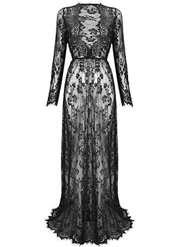 Lace Dress (Yomoko Sexy Deep V-Neck Long Sleeve Lace Beach Dress See-through Maxi Dress (Medium, Black))