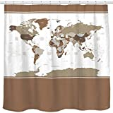 Designer Shower Curtains Sunlit Designer New Updated World Map Quality Fabric Shower Curtain with Countries and Ocean 72 x 72 inch- Tan Brown and White