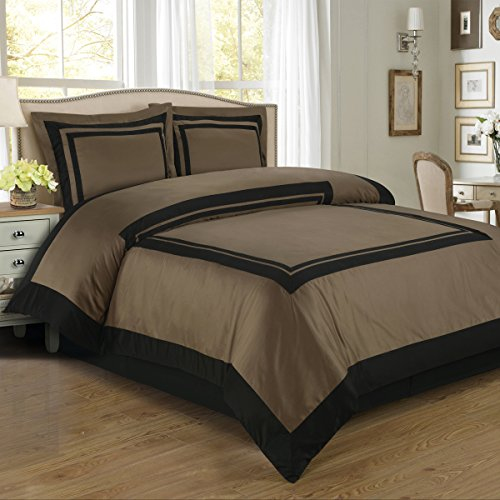 Deluxe Reversible Hotel Comforter Set, 100% Cotton 300 Thread Count Bedding, Woven with Superior Single-ply Yarn. 3 Piece King/California King Size Comforter Set, Taupe and Black
