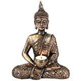 Giftbrit Large Thai Buddha tealight holder, Gold, Bronze