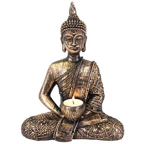 Giftbrit Large Thai Buddha tealight holder, Gold, Bronze