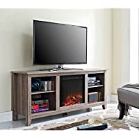 Walker Edison W58FP18AG Fireplace TV Stand , Driftwood , 58
