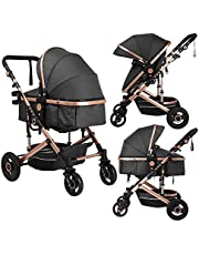 Large Storage Baby Newborn Stroller with Canopy, Pushchair with Foot Cover,2 in 1 Convertible Carriage Bassinet to Stroller, Cup Holder, Wheels Suspension, 5-Point Harness, (Black)