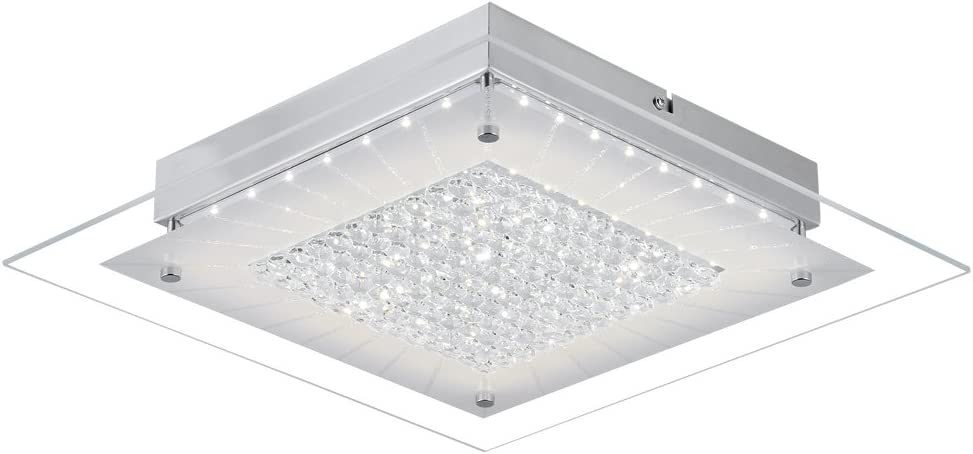 Crystal Close to Ceiling Light Fixtures Auffel Morden LED Flush Mount Lighting 11-Inch Dimmable Square Glass Ceiling Lamp 1320ML 4000K Contemporary Crystal Chandelier for Hallway Kitchen Cloakroom