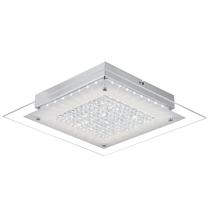 Crystal Close to Ceiling Light Fixtures Auffel Morden LED Flush Mount Lighting 11-Inch Dimmable Square Glass Ceiling Lamp 1320ML 4000K Contemporary ...