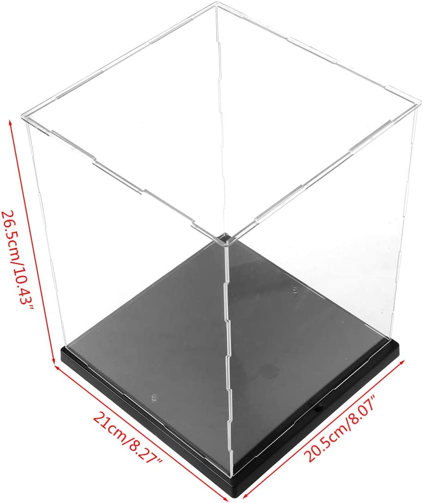 ATATMOUNT Klare Acryl-Displaybox Staubdichtes Schutzmodell Vitrine Bunte LED-Leuchten