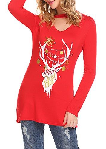 SimpleFun Women's Ugly Christmas Xmas Reindeer Pullover Blouse Tops (Red_Reindeer, S) Xmas Top