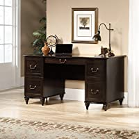 Sauder New Albany Pedestal Desk in Jamocha Wood