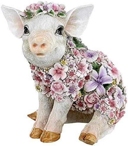 Design Toscano JQ12452 Flower Power Pig Farm Animal Statue