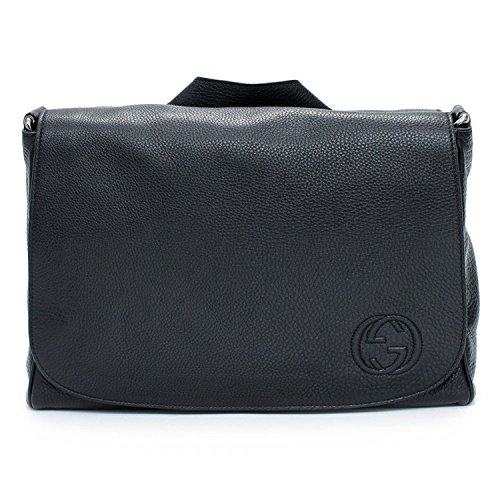 Gucci Soho Black Diaper Bag Leather Italy Messenger New ()