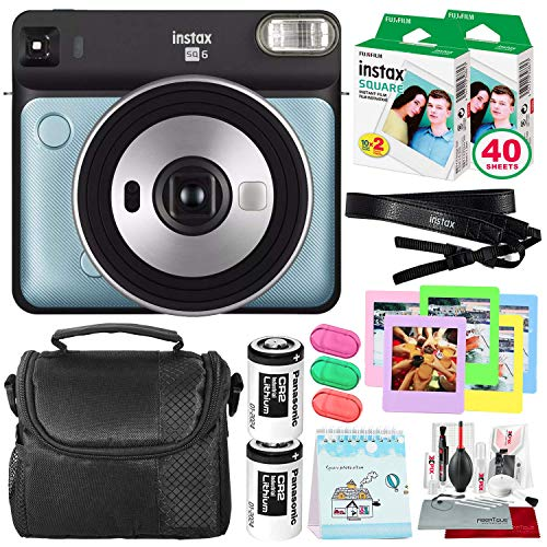 Fujifilm instax Square SQ6 Instant Film Camera (Aqua Blue) + 40 Sheet Square Instant Film + Deluxe Bundle (USA Warrantty)