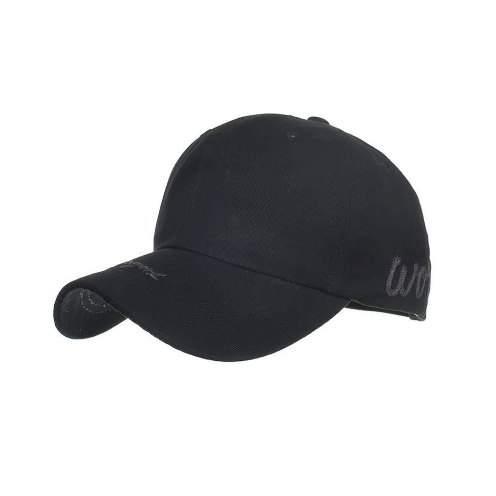 2019 Summer Womens Mans Outdoor Cotton Embroidered Unisex Baseball Caps Adjustable Dad Hats (Black, Free Size)
