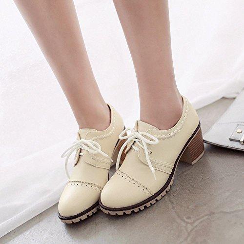 Spectacle Briller Mode Féminine Doux Talon Épais Oxfords Chaussures Beige