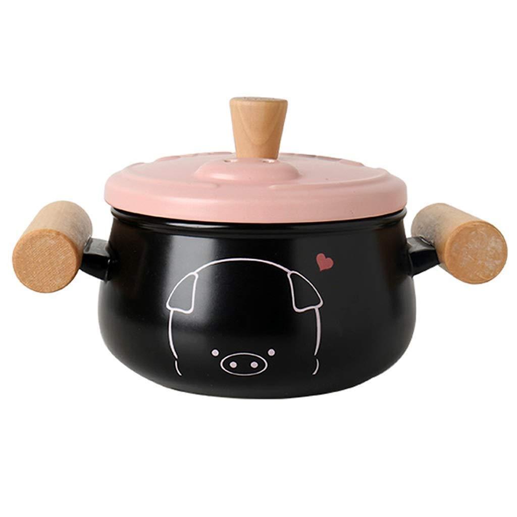 HIZLJJ キャセロール皿大スープとサラダボウル蓋付きキャセロール料理キャセロール料理キャセロールかわいいセラミックキャセロール子豚耳キャセロール鍋 (Size : 2.5L) B07TY4V8DK  2.5L