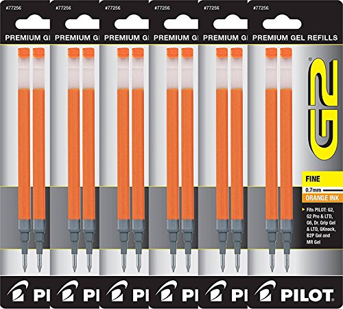 Value Pack of 6 - Pilot G2 Gel Ink Refills for Rolling Ball Pen, Fine Point, Orange (77256)