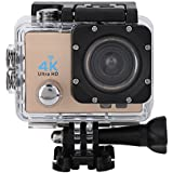 Acouto Sports Action Camera,4k 12MP front Flash Camcorder 140°Angle with Remote Controller,Waterproof Housing Case,Adapter Bracket,USB Cable,US Plug and more Accessories Kits (Gold)