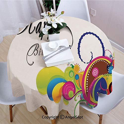 """AngelSept Round Tablecloth,Spiral Colorful Abstract Floral Elements Modern Greeting Card Inspired,35"""" Round,for Dinner Kitchen Home Decor,Multicolor"""