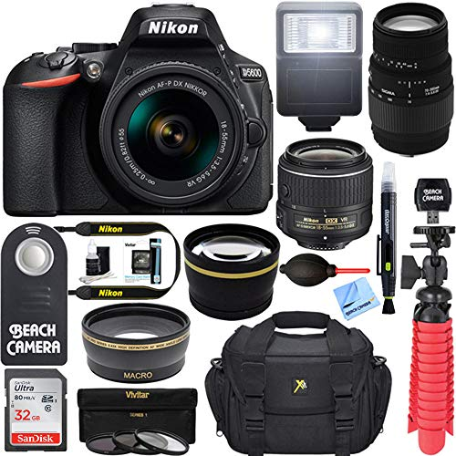 Nikon D5600 24.2MP DSLR Camera + (18-55mm VR Nikon & 70-300mm SLD DG Sigma Lens Package, Black) + Bundle 64GB SDXC Memory + Photo Bag+Wide Angle Lens + 2x Telephoto+Flash ()