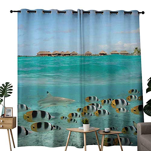 LewisColeridge Window Curtains Ocean,Blacktip Reef Shark Chasing Butterfly Fish Lagoon of Bora Bora Tahiti,Aqua Yellow and Black,Tie Up Window Drapes Living Room 84