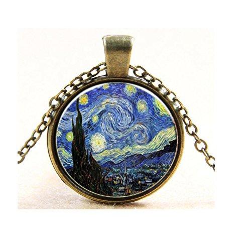 Darkey Wang Women's Fashion Van Gogh Star Time Gemstone Pendant Necklace