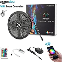 Nexlux LED Strip Lights, Wifi Wireless Smart Phone Controlled Light Strip Kit 16.4ft 150leds 5050 Waterproof IP65 LED Lights ,Working with Android and IOS System,IFTTT, Google Assistant