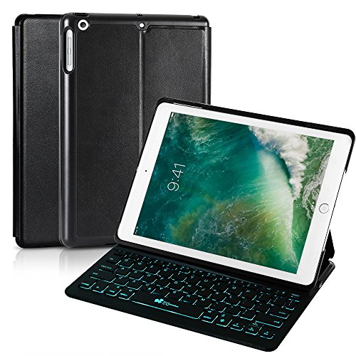 2018 iPad 9.7 6th Generation/Pad Air/iPad 9.7 Keyboard Case EC Technology 7 Color Backlit Hard Shell Wireless Bluetooth Keyboard Cover,Ultra Slim,Portable with Auto Sleep/Wake-Black by EC Technology (Image #7)