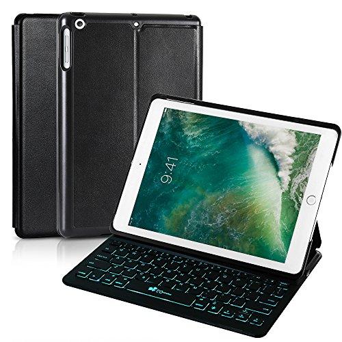 2018 iPad 9.7 6th Generation/Pad Air/iPad 9.7 Keyboard Case EC Technology 7 Color Backlit Hard Shell Wireless Bluetooth Keyboard Cover,Ultra Slim,Portable with Auto Sleep/Wake-Black by EC Technology