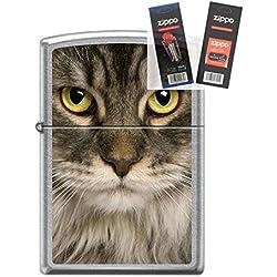 Zippo 6116 Maine Coon Cat Lighter Withflint & Wick Gift Set