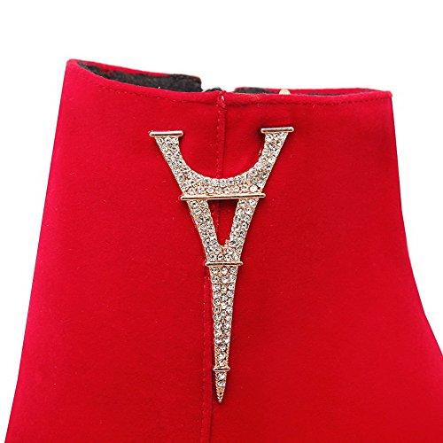 AllhqFashion Mujeres Tachonado Cremallera Puntera Redonda Tacón ancho Botas con Diamante Rojo